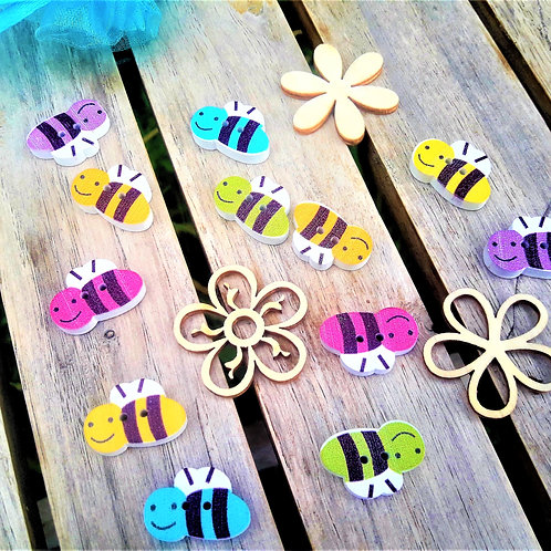 Bee wooden memory game for kids, nature inspired, butterflies.