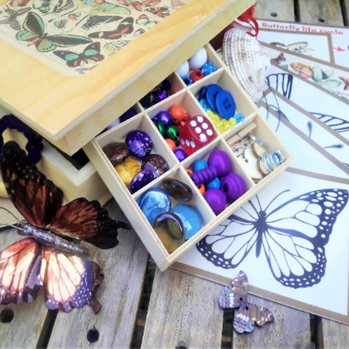 Butterfly builder natural loose parts, tinker tray sensory treasure box. Open en