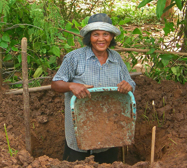 A daily worker digging  foundation in Thailand.