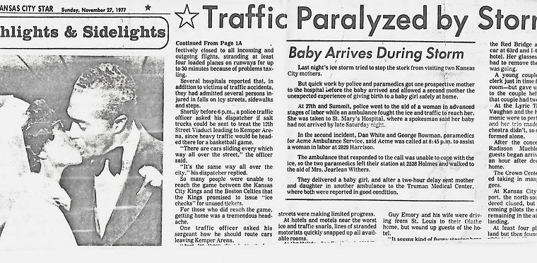 KC Star 1977. An ice storm baby is born.