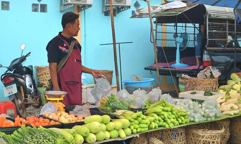 A local market in rural Thailand.