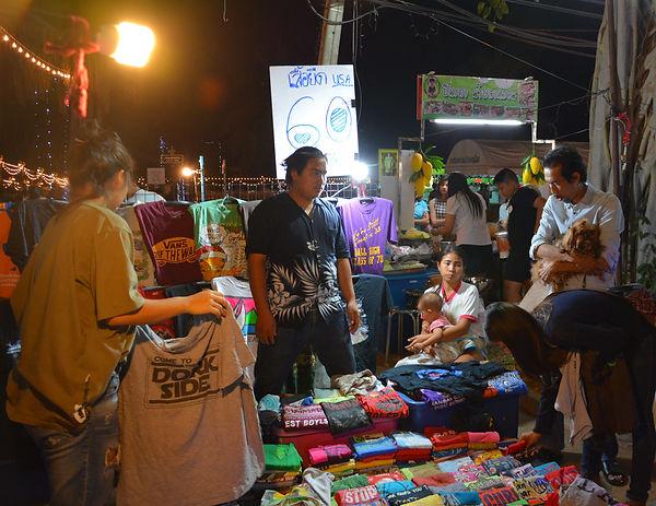 Vendors selling t-shirts in Phitsanulok, Thailand.