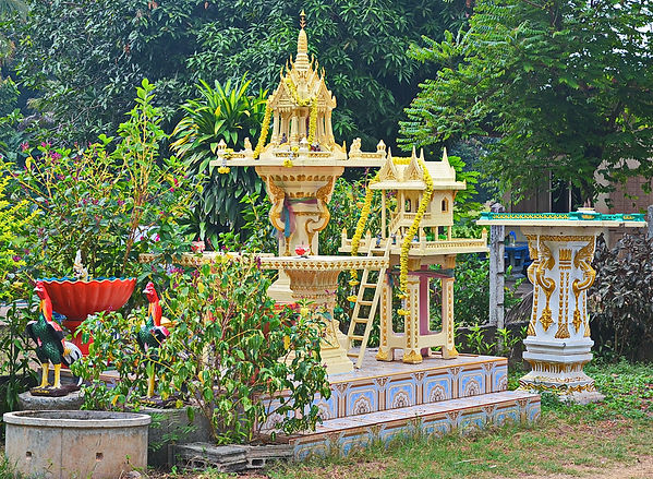 A fancy spirit house in rural Thailand.