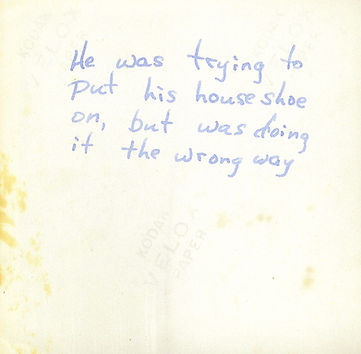My mother died when I was a three-year old. This is her handwriting on the back of an old Polaroid photo, describing what I was doing. Back then most people wrote in cursive.