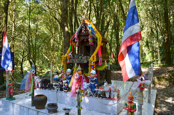 A spirit house in the forests of Thailand.