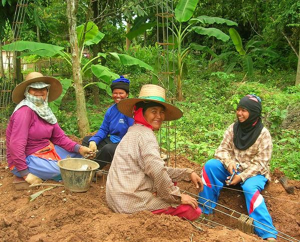 Thai women taking a break during a hot day.