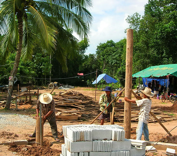 Setting front gate posts in Phitsanulok, Thailand.