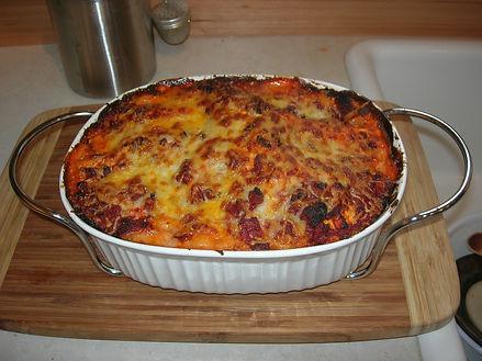 Baking lasagna in Colorado.