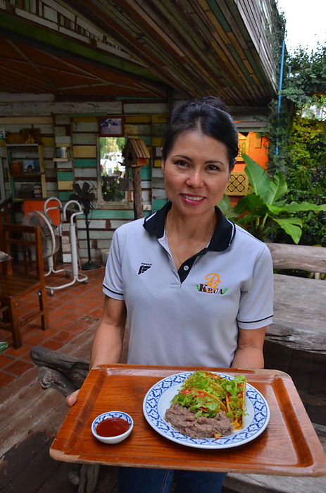 Cooking tacos in Phitsanulok, Thailand.