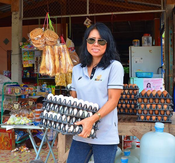 Gathering duck eggs in Thailand.