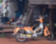An old Suzuki motorcycle in northern Thailand.