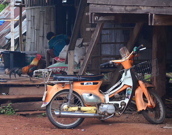 An old Suzuki motorcycle in northern Thailand.