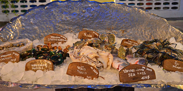 A fresh seafood dinner in Thailand.