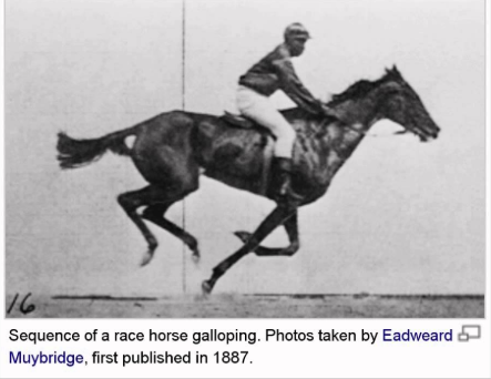 Eadweard Muybridge photographs horses in 1887.