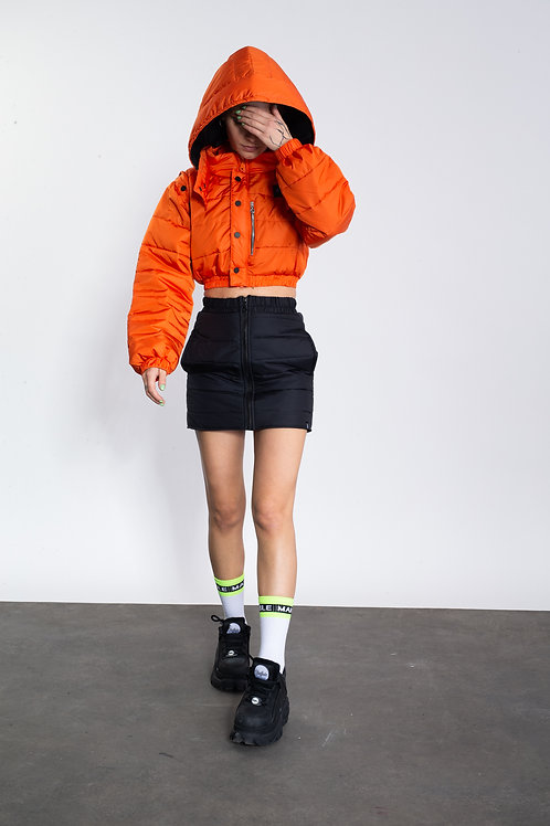 ORANGE QUILTED REVERSIBLE BOMBER