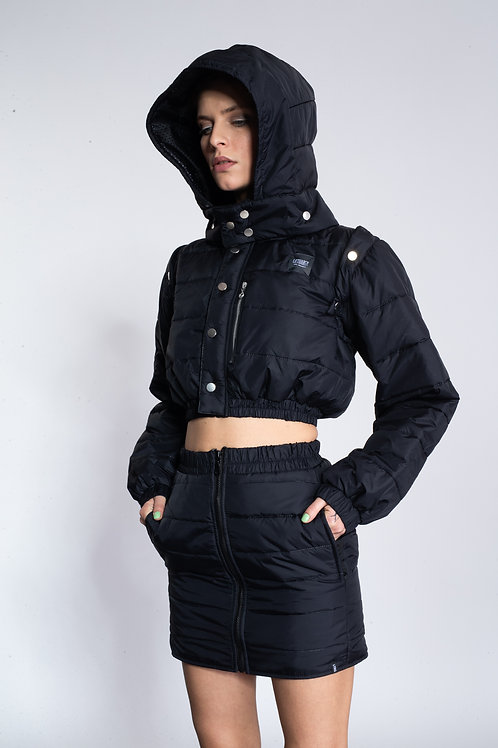 BLACK QUILTED REVERSIBLE BOMBER