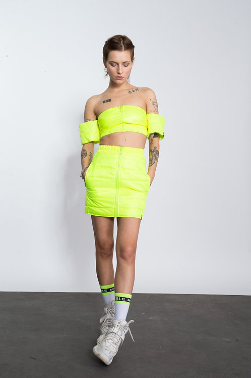 YELLOW QUILTED TAL SKIRT