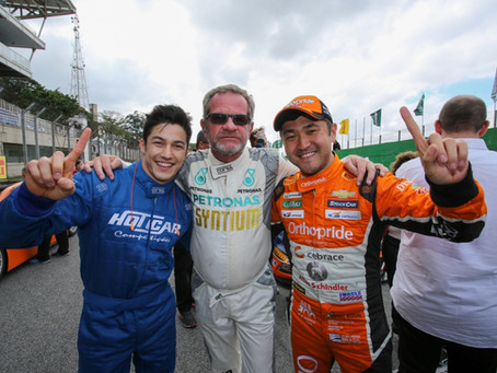 Antes da Corrida do Milhão, Rafael Suzuki recebe ginasta Arthur Nory no GP do Bem