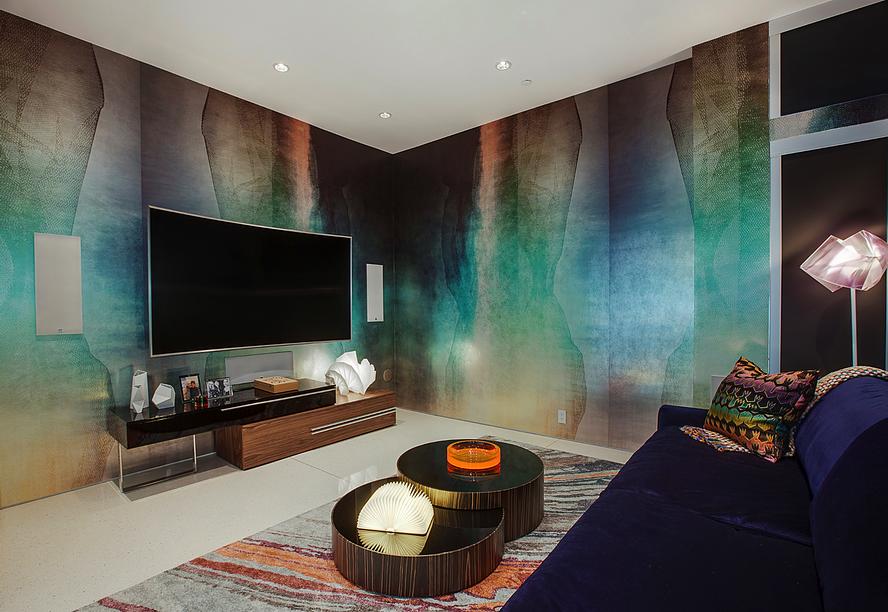 Interior Decorator Tampa | Beverly Hills Contemporary Media Room | Crespo Design Group Blog 3-1-17