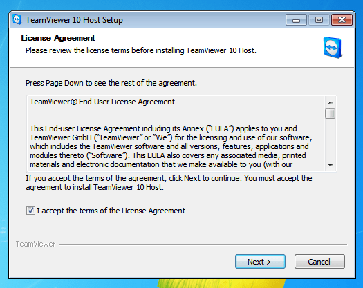 TeamViewer 10 Host Setup License Agreeme