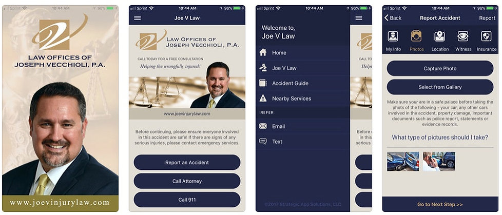 Car Accident Lawyer Tampa Florida - Crash App Screenshots