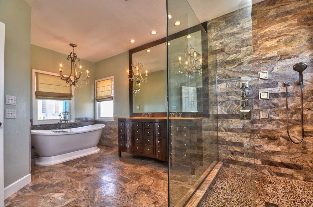 Interior Designer Tampa | Crespo Design Group | Gulfport bathtub shower at night detail