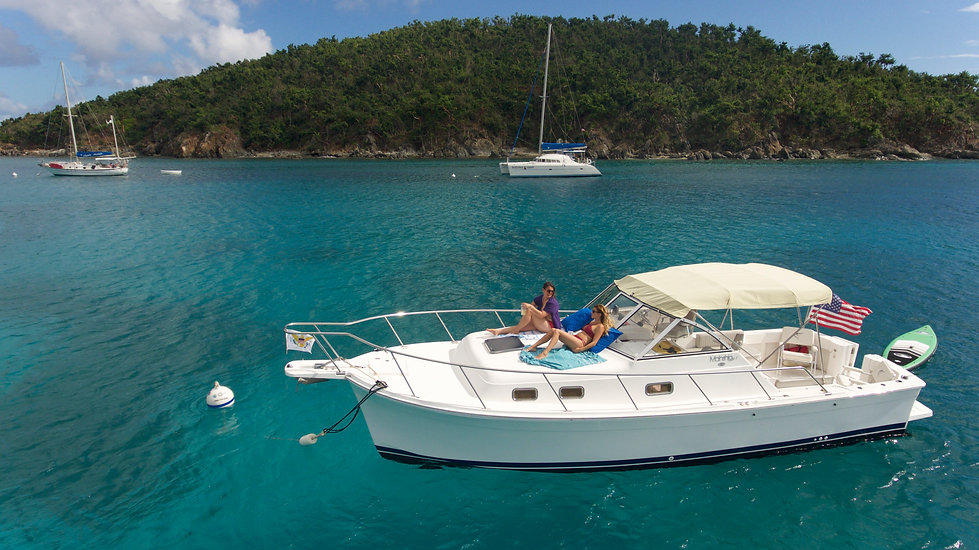 St Thomas Charter Boats | Phoenix Island Charters | Yacht at Anchor