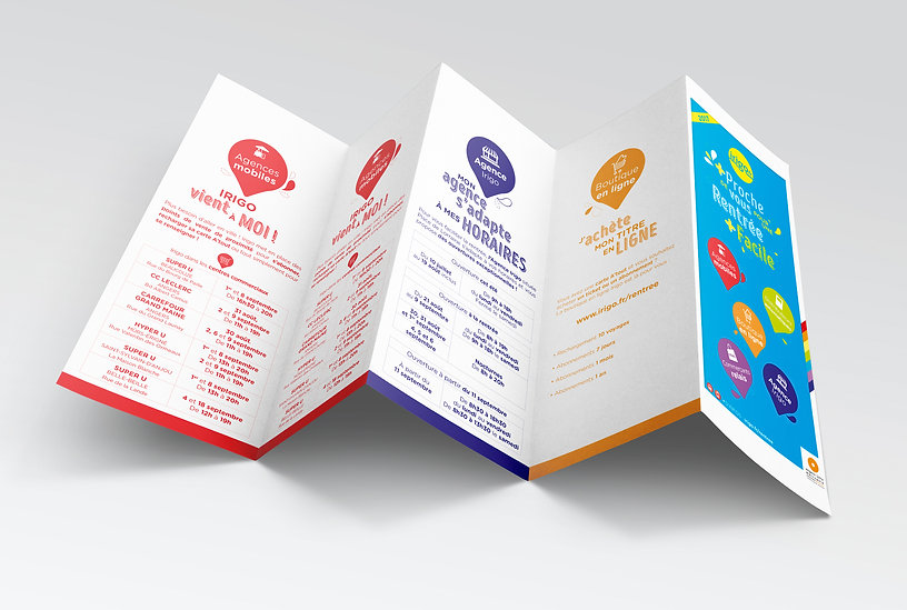 Irigo, Keolis, transport, tramway, bus, édition, mise en page, graphisme, communication, design by la Fabrique Rouge, Angers, Maine et Loire