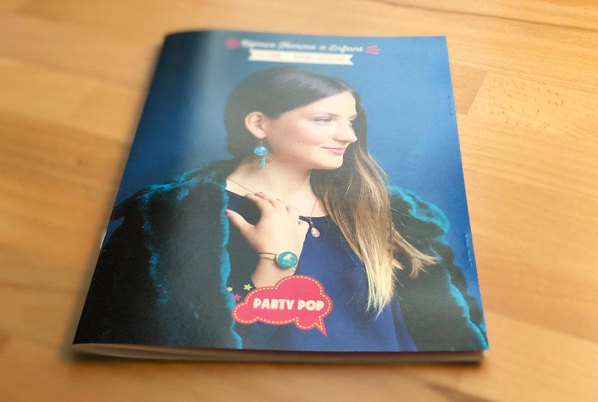 Party Pop, bijoux, plaquette image, identité, édition, graphisme, communication, design by la Fabrique Rouge, Angers, Maine et Loire