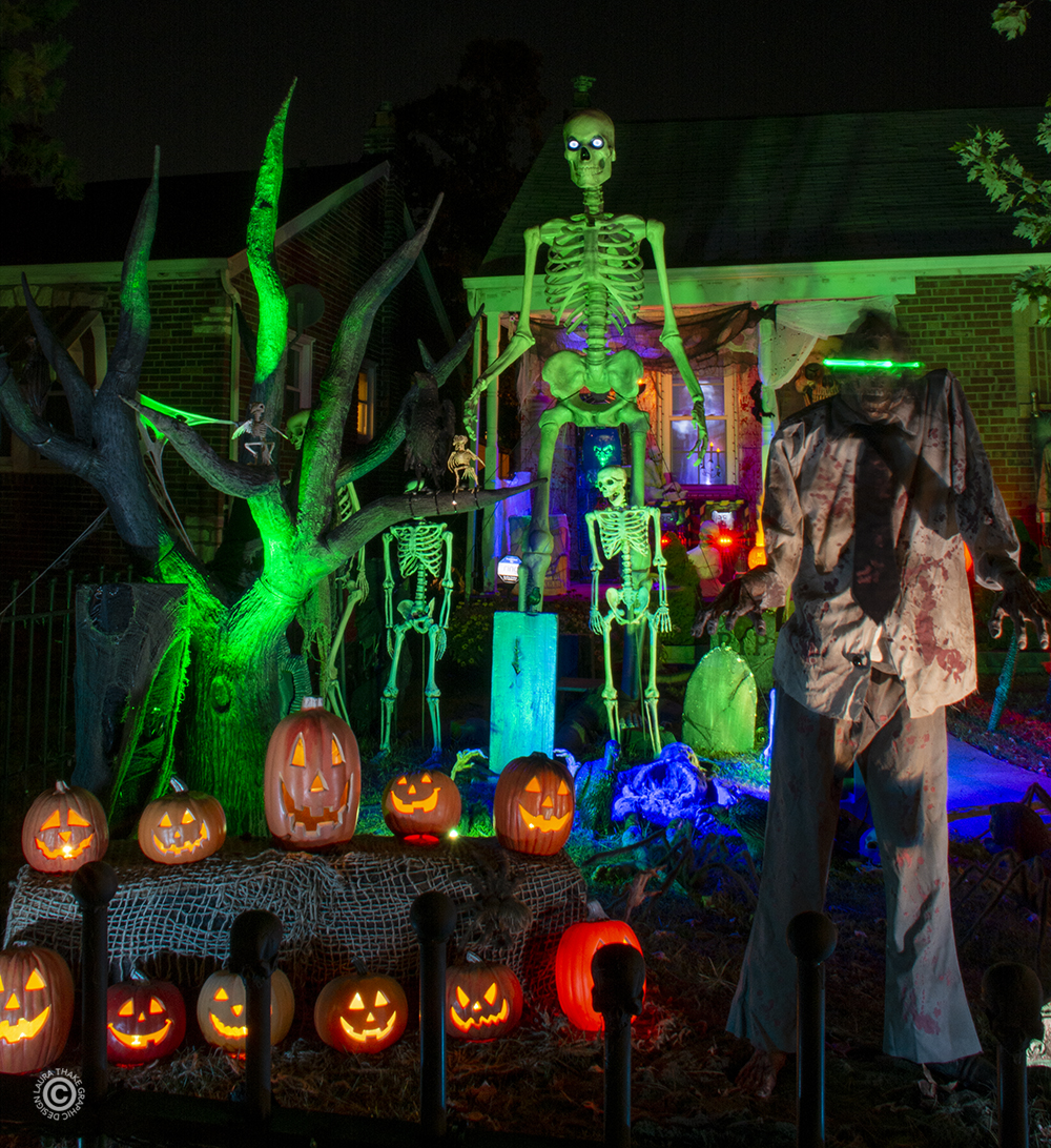A 12 foot tall skeleton and his much shorter friends hang out with the singing pumpkins.