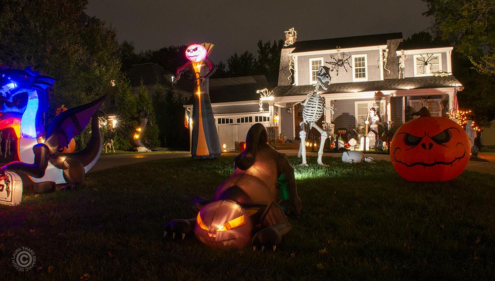 Halloween inflatable decorations in Kirkwood MO.