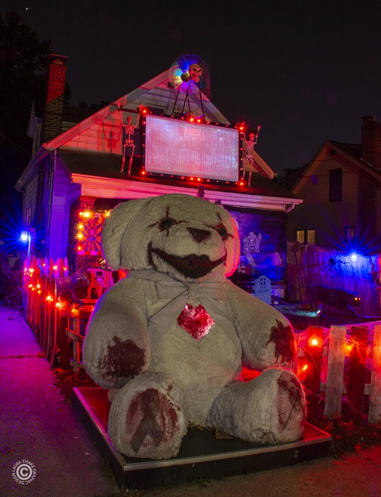 The giant teddy bear with the beating heart for Halloween near me.