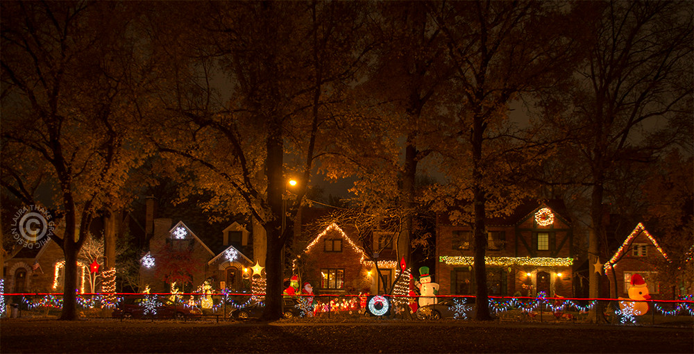 Christmas lights in St. Louis Hills neighborhood.