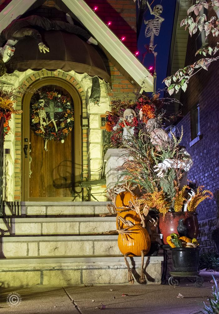 Halloween decorations in St. Louis Hills.