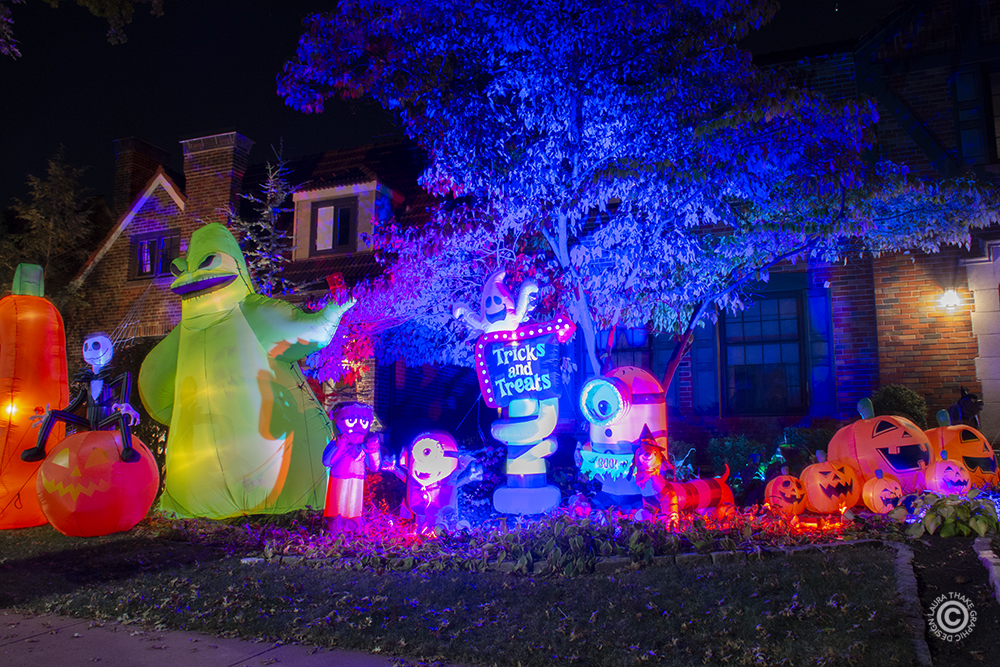Halloween inflatables and decorations.