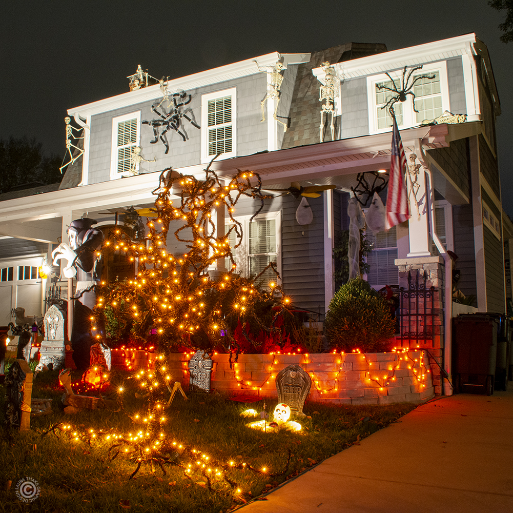 Halloween lights and scary decorations in Kirkwood MO.
