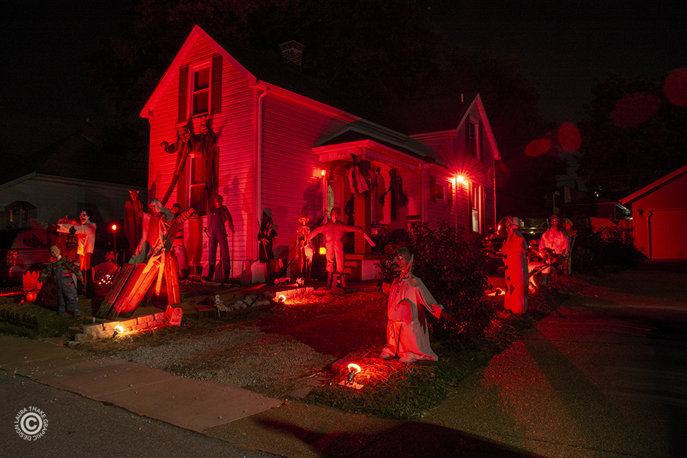 Scary Halloween decorations in Affton MO.