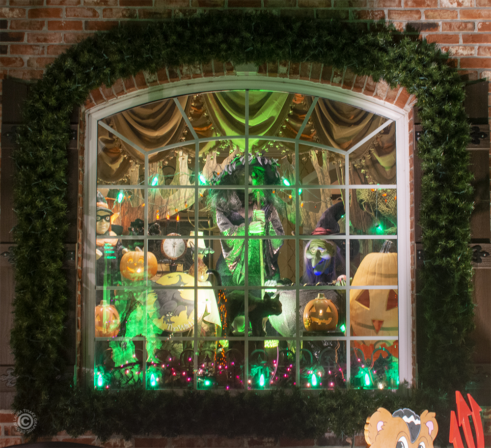 Halloween window decorations.