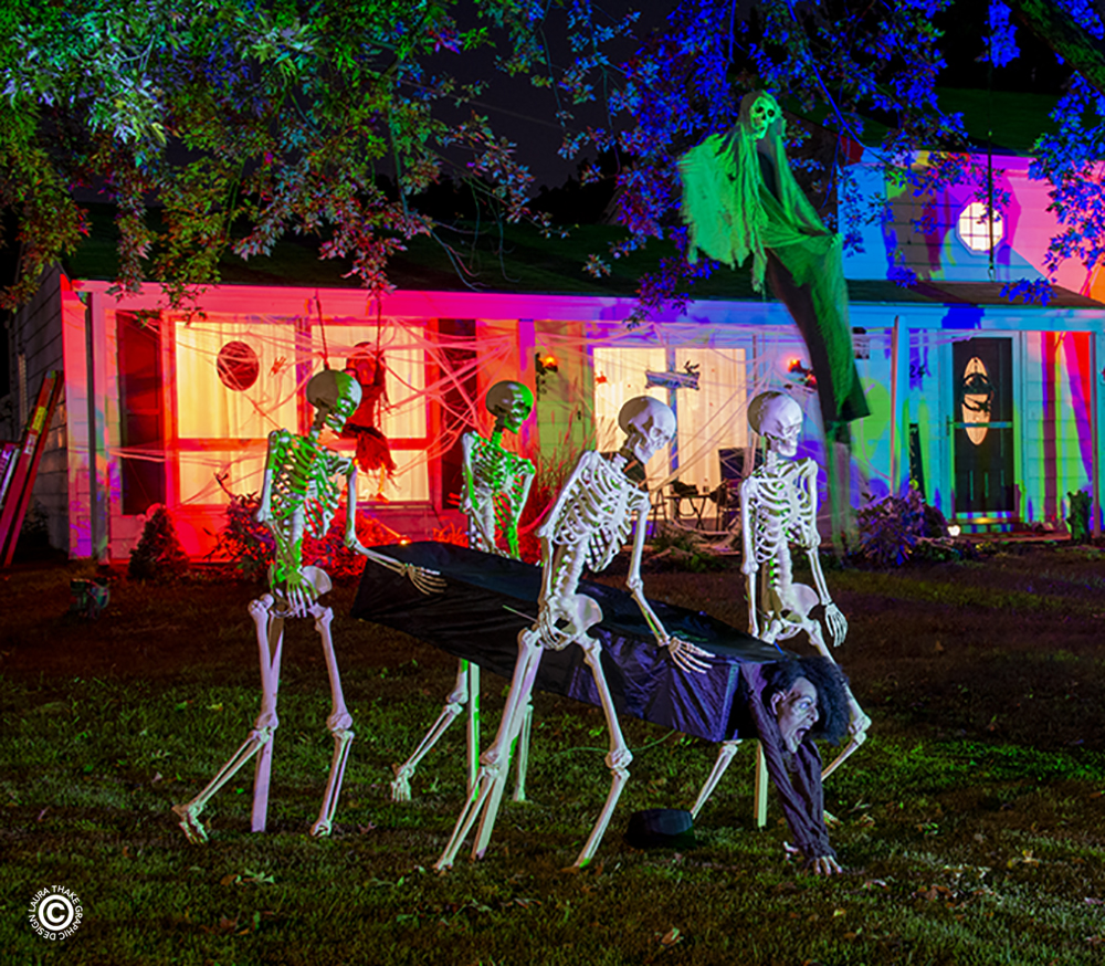 Halloween lights on a house in Ellisville MO.