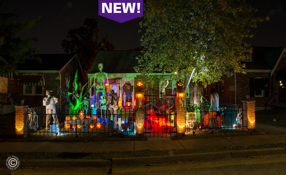 Halloween lights set to music in St. Louis MO.