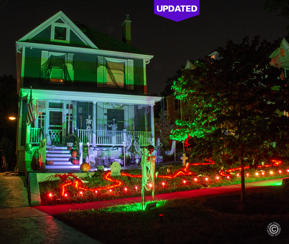 A haunted house decorated for Halloween in Webster Groves MO.