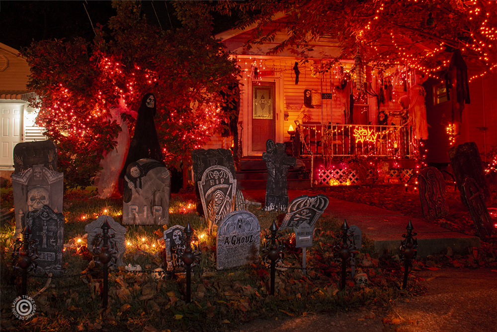 Halloween graveyard in St. Louis city.