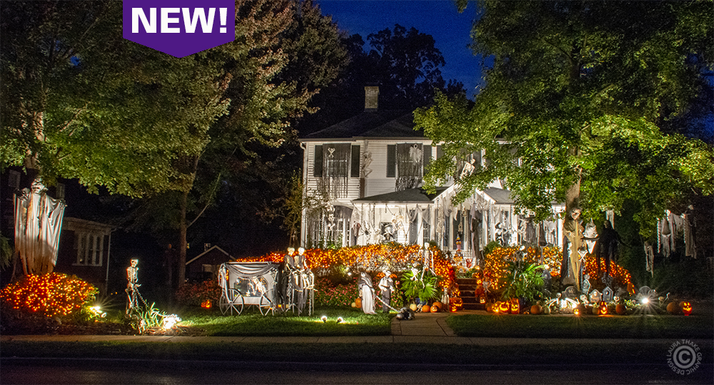 Halloween lights in Webster Groves MO.