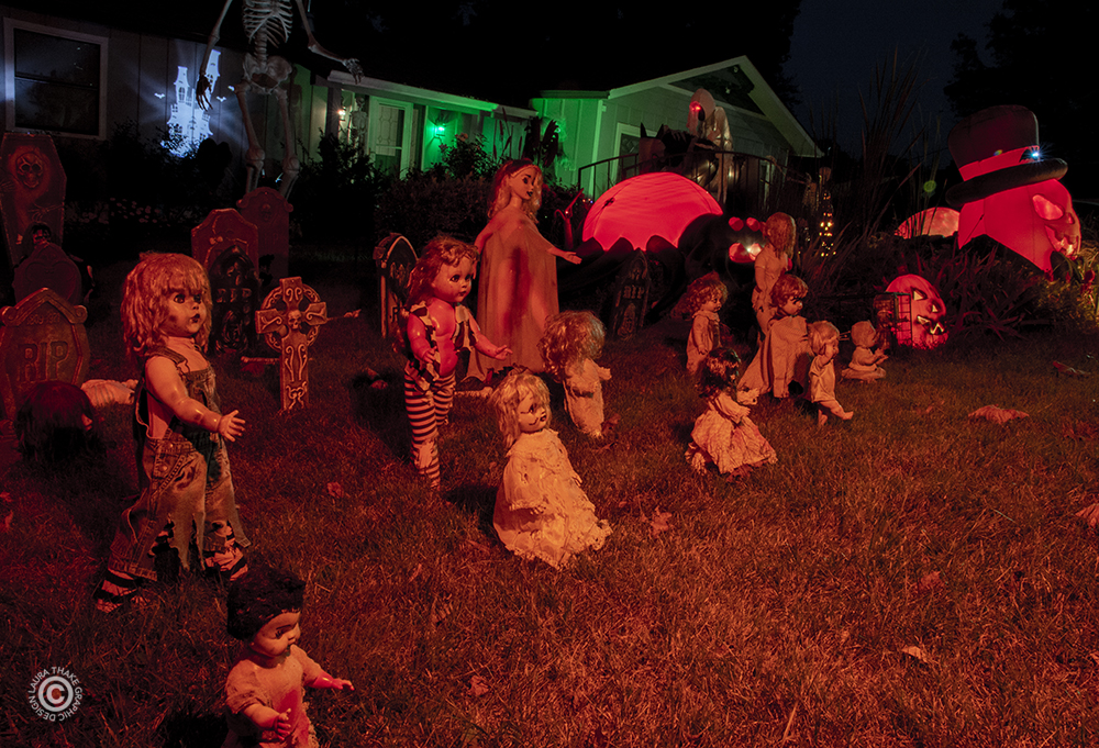 A Halloween zombie-baby-graveyard in Fenton Mo.