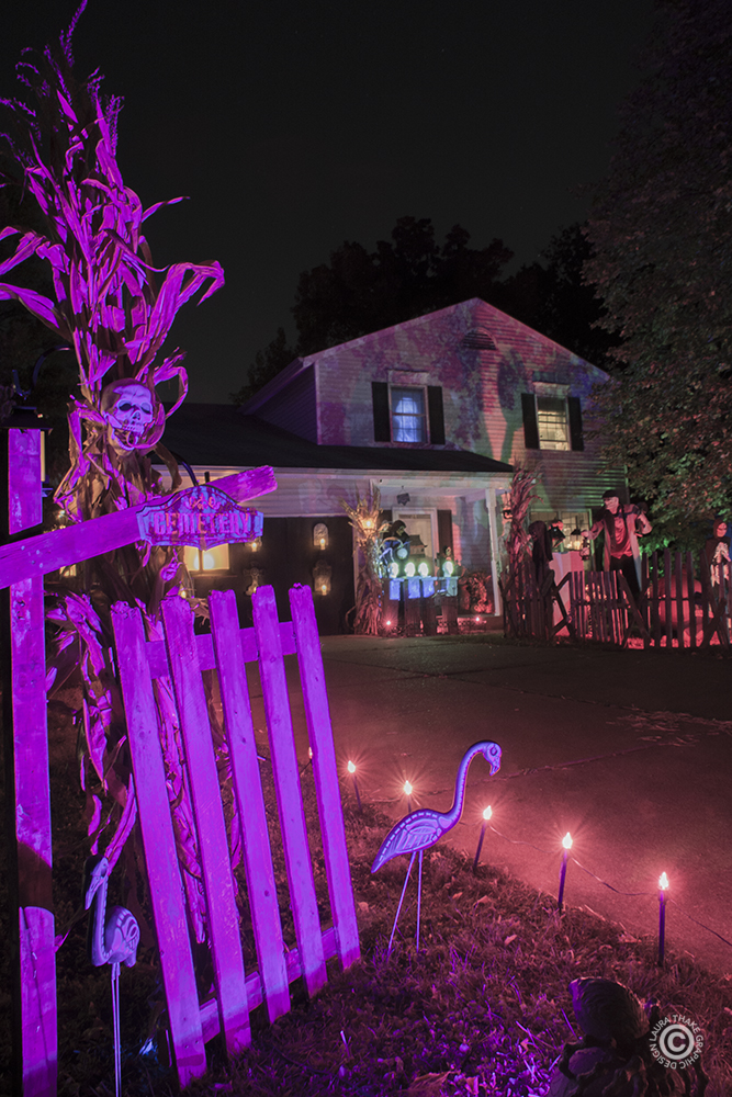 Colorful lights and Halloween decorations in Kirkwood MO.