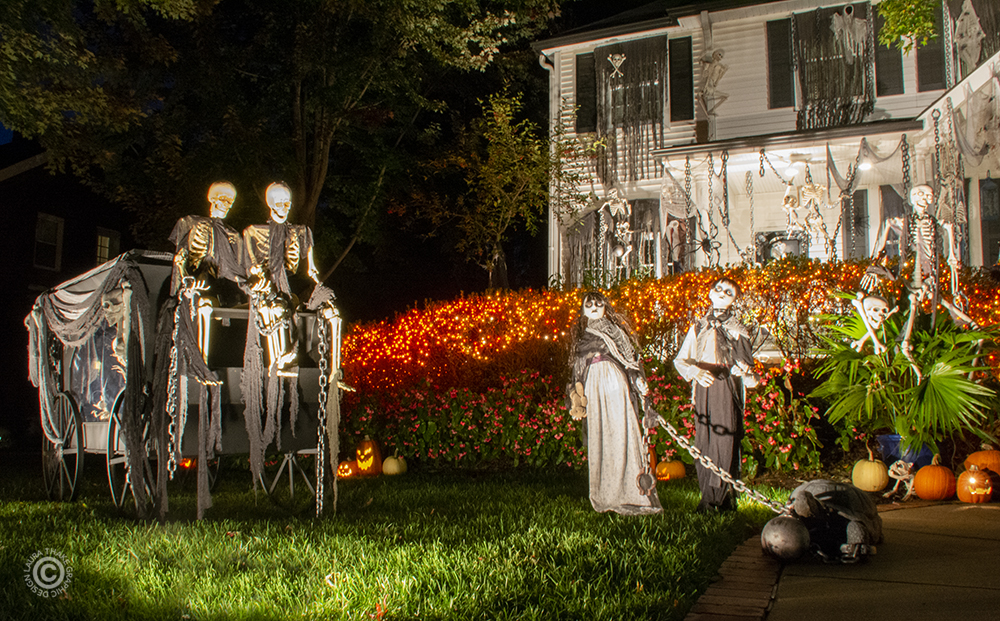 The zombie children and the skeleton hearse Halloween decorations.