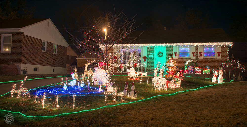 Christmas decorations covering this house in St. Louis MO.