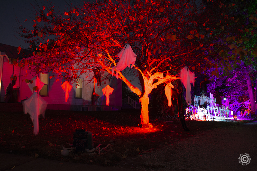 Ghosts hanging in a red lit tree for Halloween.