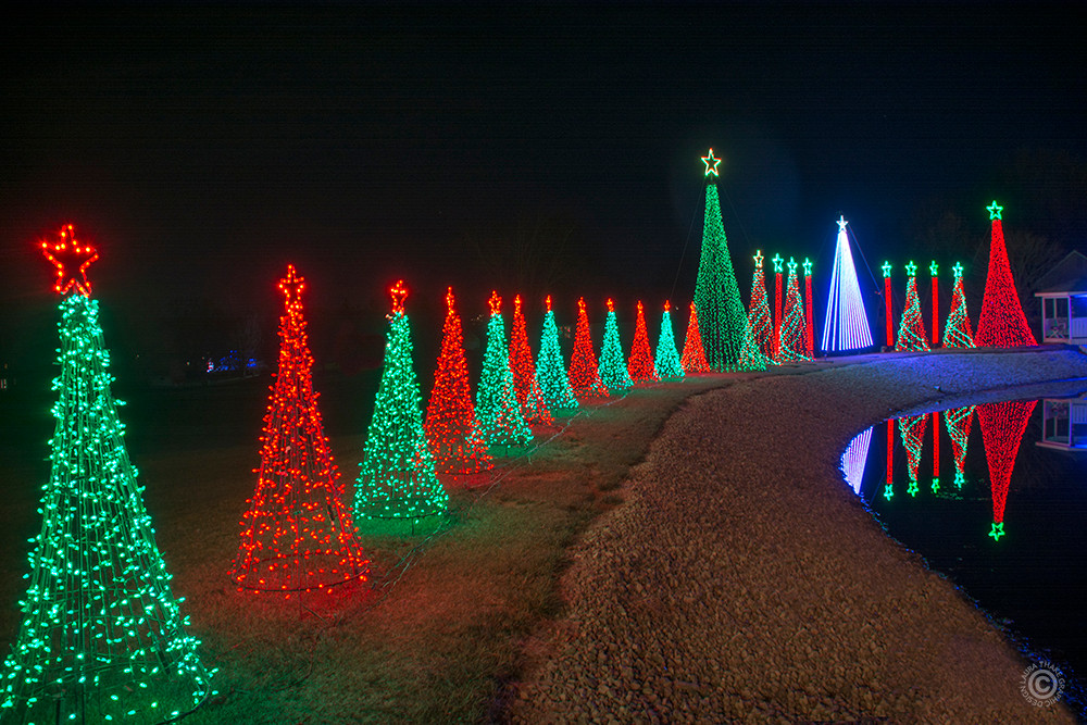 Beautiful red, white and green Christmas lights dancing to music.
