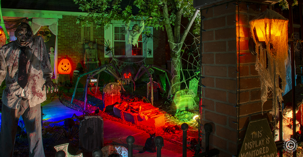 The giant spider over looks the haunted grave yard.